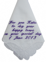 Ladies Personalised Handkerchief - Hankie  Wedding/Bday